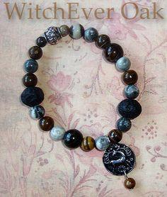 Cernunnos (Earth)  Bracelet, Lava, Fossilised Wood and Stone Beads B800. $25.00, via Etsy.