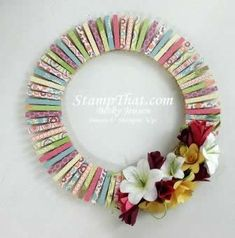 Handmade Spring Wreath.  Might make some paper flowers for on it instead of the silk ones.