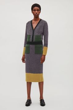 COS image 4 of Colour-block skirt with mohair pockets in Dark grey