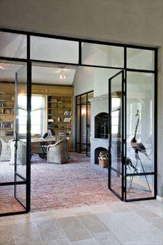 Beautiful black framed glass separation  wonen landelijke stijl
