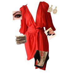 A fashion look from December 2014 featuring Yves Saint Laurent dresses, MICHAEL Michael Kors pumps and Aurélie Bidermann earrings. Browse and shop related look…