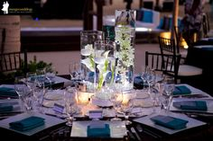 Turquoise and brown wedding decor  by the beach