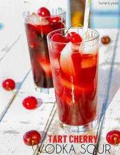 Tart cherry vodka sour