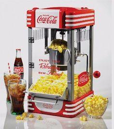 Coca Cola Popcorn Machine Countertop Home 10 Cup Kettle Popper Pop Corn Maker  #NostalgiaElectrics