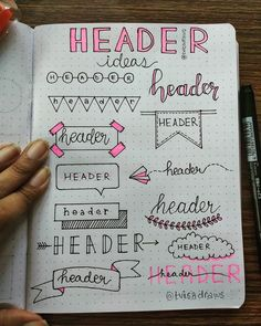 32 Bullet Journal Header and Title Ideas - Beautiful Dawn Designs - - Adding headers or titles to your bullet journal adds a nice touch to your spread. Headers let you know what your page is about as soon as you land on it. Bullet Journal School, Bullet Journal Paper, Bullet Journal Titles, Journal Fonts, Bullet Journal Lettering Ideas, Bullet Journal Notebook, Bullet Journal Aesthetic, Bullet Journal Spread, Book Journal