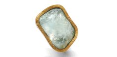 Rough aquamarine ring in silver and gold