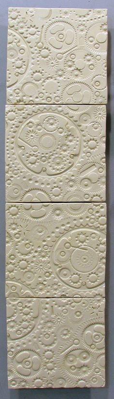 White Gears - ceramic tile mural wall art by JasonMessingerArt.com