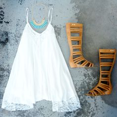Bohemian Lace. Not really a big fan of High gladiator sandals but love the dress!