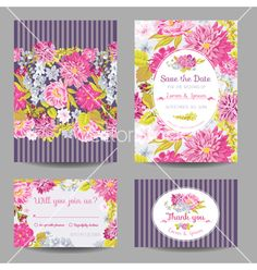 Invitation or greeting card set - for wedding vector - by woodhouse84 on VectorStock®
