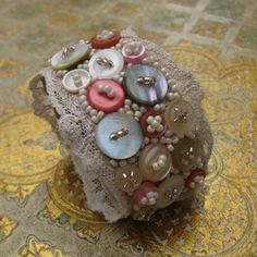 BELLE - handembroidered cuff featuring antique lace, vintage buttons and seedbeads