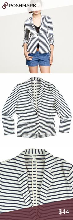 "JCREW Navy & Ivory Stripe Knit Maritime Jacket Excellent condition! This navy blue and Ivory Slub knit maritime jacket from JCREW features button closures, front pockets and is unlined. Made of 100% cotton. Measures: bust: 42"", total length: 25"", sleeves: 25"" J. Crew Jackets & Coats Blazers"