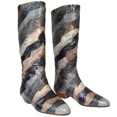 Andrea Pfister Mixed Reptile Skin Patchwork Boots   From a collection of rare vintage shoes at https://www.1stdibs.com/fashion/accessories/shoes/