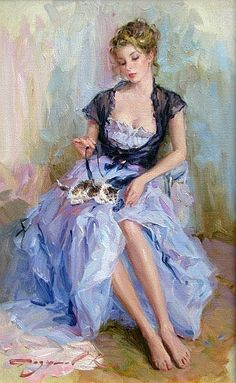 Konstantin Razumov puts a contemporary spin on his work.  Another defining characteristic of Konstantin Razumov's work is that the lighting in his paintings is impeccable, always finding ways of enhancing the beauty of his subjects.