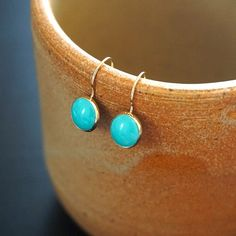 Gold Turquoise Earrings 14k Drop Solid Jewelry