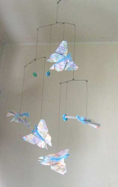 Aqua Butterflies Origami Paper Mobile | lovelythings - Sculpture on ArtFire