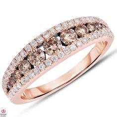 Ebay NissoniJewelry presents - Ladies' 1CT Brown and White Diamond Anniversary Band 14K Rose Gold    Model Number:ABV5770K_P45523    http://www.ebay.com/itm/Ladies-1CT-Brown-and-White-Diamond-Anniversary-Band-14K-Rose-Gold/221630378148
