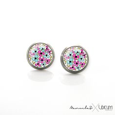 Pure Anium Jewelry Earrings For Sensitive Ears Pink Turquoise Blue Summer Flowers Hypoallergenic Stud