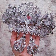 Luxury handmade crystal crown tiara earing by HMWorksHauteCouture