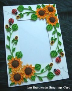 Lin Handmade Greetings Card: Quilled Sunflower photo frame