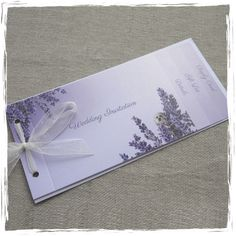 Sarah Alexis Stationery - Lavender and Ivory Cheque Book style Wedding Invitation