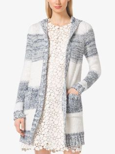Stripes and an attached hood lend casual appeal to this lightweight cotton-blend cardigan. Whether you layer it atop a dress or a T-shirt and denim, the effect is cozy, classic and chic.