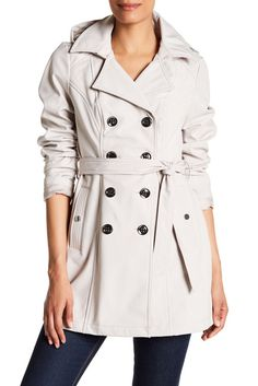 Image of Sebby Short Hooded Trench Coat