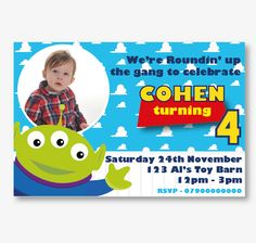 Personalised Toy Story Alien Photo Invitations. Printed on Professional 300 GSM smooth card with free envelopes & delivery as standard. www.beyondtheink.co.uk