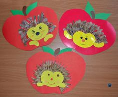 Apples & hedgehogs Fall Arts And Crafts, Fall Crafts For Kids, Projects For Kids, Diy And Crafts, Back To School Art, Scarecrow Crafts, Hedgehog Craft, Rainbow Nursery, Butterfly Decorations