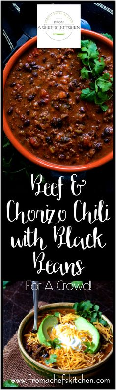 Beef and Chorizo Chili with Black Beans is scaled for a crowd and perfect for a party! Beef, chorizo, red wine and Poblano peppers star in this hearty chili (Mexican Recipes For A Crowd) Chilli Recipes, Mexican Food Recipes, Crockpot Recipes, Soup Recipes, Dinner Recipes, Healthy Recipes, Party Recipes, Beef Chorizo, Chili Cook Off