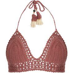 She Made Me Essential Bralette crochet bikini top ($94) ❤ liked on Polyvore featuring swimwear, bikinis, bikini tops, crochet halter top, crochet halter bikini, halter swim top, halter swimsuit tops and boho bikini