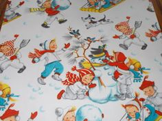 Vintage Christmas Wrapping Paper ~ Children Playing in the Snow.
