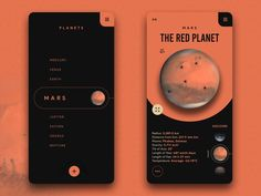 Solar System Guide App - Concept by on Dribbble Web Design Mobile, App Ui Design, Flat Design, Gui Interface, User Interface Design, Design Responsive, Android App Design, Website Design Layout, Zentangle