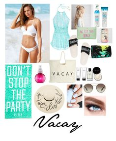 """""""Vacay"""" by alyssa4656 ❤ liked on Polyvore featuring Victoria's Secret, T-shirt & Jeans, Monki, Not Your Mother's, Bobbi Brown Cosmetics, Eugenia Kim, Prada and Maybelline"""