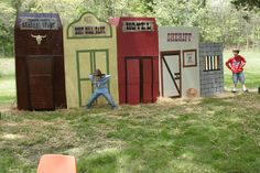 Kids Cowboy Western Party.  Western town made from wardrobe boxes.