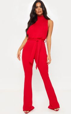 The Red Scuba High Neck Tie Waist Jumpsuit. Head online and shop this season's range of jumpsuits & playsuits at PrettyLittleThing. Express delivery available. Bandeau Jumpsuit, Scuba Fabric, Playsuits, Jumpsuits, Hot Outfits, Petite Size, Tie, Womens Fashion, Model