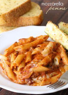 One of the best Italian recipes every - Mozzarella Penne! BEYOND delicious! { lilluna.com }