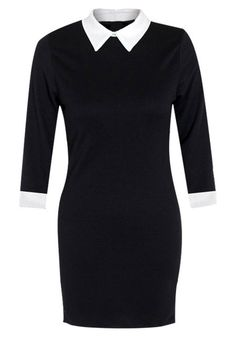 Collared bodycon Dress - Unlined Black Dress