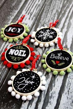 Hoop Art Christmas Ornaments