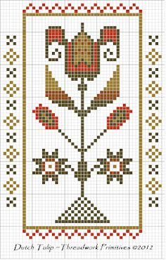 Dutch Tulip Cross Stitch Freebie