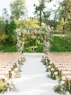 Luxe Santa Fe Wedding With a Lush Floral Chuppah Oh. This luxe Santa Fe wedding features a dreamy floral chuppah with lush greenery, and blush & ivory roses by Mark's Garden. Wedding Ceremony Ideas, Wedding Aisle Outdoor, Wedding Chuppah, Outside Wedding, Wedding Arches, Wedding Backdrops, Wedding Ceremonies, Ceremony Backdrop, Outdoor Weddings