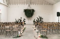 modern, simple and vintage white brick venue with greenery backdrop // downtown los angeles hnypt