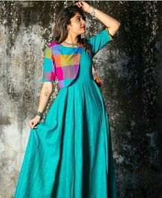 for this Tailer fit designer wear Indian Gowns Dresses, Indian Fashion Dresses, Dress Indian Style, Indian Designer Outfits, Indian Outfits, Salwar Designs, Kurta Designs Women, Kurti Designs Party Wear, Short Kurti Designs