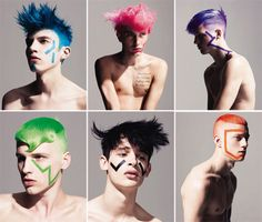 Looking for a daring new do? Check out the latest Rodeo editorial featuring Lauri, Mikael, Andreas, Rasmus E., Oskar L. and Felix photographed by Andreas Öhlund. Mens Hair Colour, Hair Color, Creative Hairstyles, Cool Hairstyles, Hairstyles 2018, Photo D Art, Male Makeup, Coloured Hair, Funky Fashion