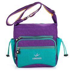 Sale 25% (19.99$) - Women Nylon Waterproof Handbag Crossbody Bag Candy Color Multi-Pocket Shoulder Bag