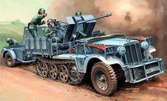 1940 Francia SdKfz 10_4 mit FLAK 30 7. Panzer-Division - Andrzej Deredos - box art Italeri