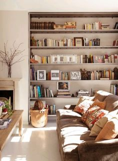 Built-in book shelves / living room / soft neutral color palette