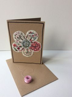 Handmade card made using raw edge applique and free motion embroidery. Business Card Maker, Unique Business Cards, Embroidery Cards, Free Motion Embroidery, Freehand Machine Embroidery, Free Machine Embroidery, Quilted Gifts, Fabric Cards, Sewing Cards