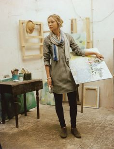 """""""Jacqueline Chemis"""" - Collarless cotton shirt in an antique jacquard stripe from www.toast.co.uk"""
