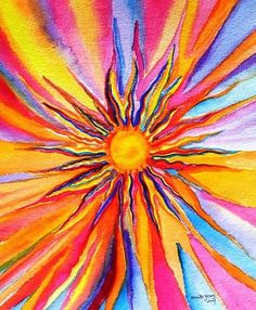 Look on the Bright side -- Looks like a fun painting Sun Painting, Painting & Drawing, Sun Drawing, Rainbow Painting, Watercolor Painting, Painting Inspiration, Art Inspo, Art Soleil, My Sun And Stars