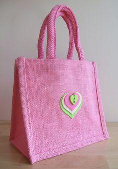 Jute bag blue with large daisies bags pinterest jute bag and pink jute gift bag felt heart motif negle Images